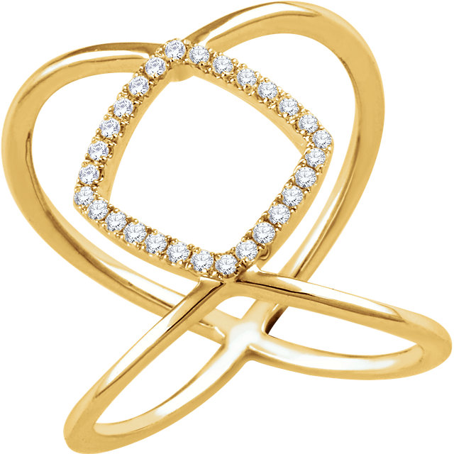 14 KT Yellow Gold 1/5 Carat TW Diamond Freeform Ring