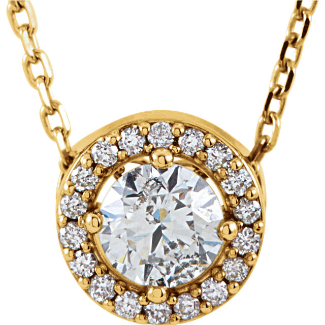 Beautiful 14 Karat Yellow Gold 0.20 Carat Total Weight Diamond Halo-Style 16