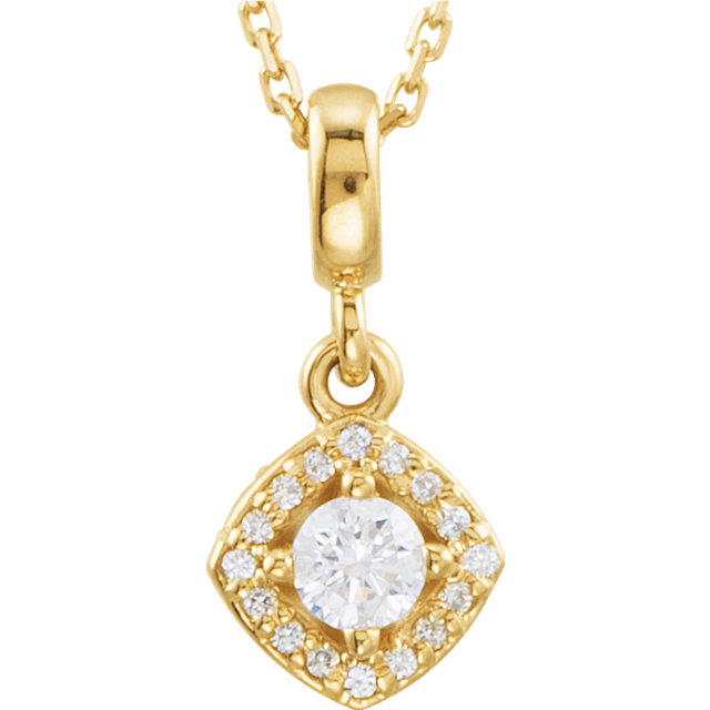 Gorgeous 14 Karat Yellow Gold 0.20 Carat Total Weight Diamond Halo-Style 18
