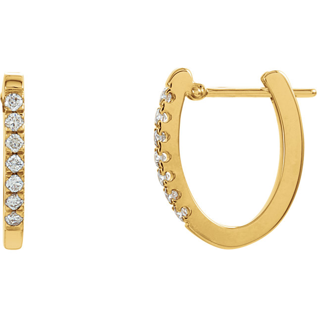 Perfect Gift Idea in 14 Karat Yellow Gold 0.20 Carat Total Weight Diamond Hoop Earrings