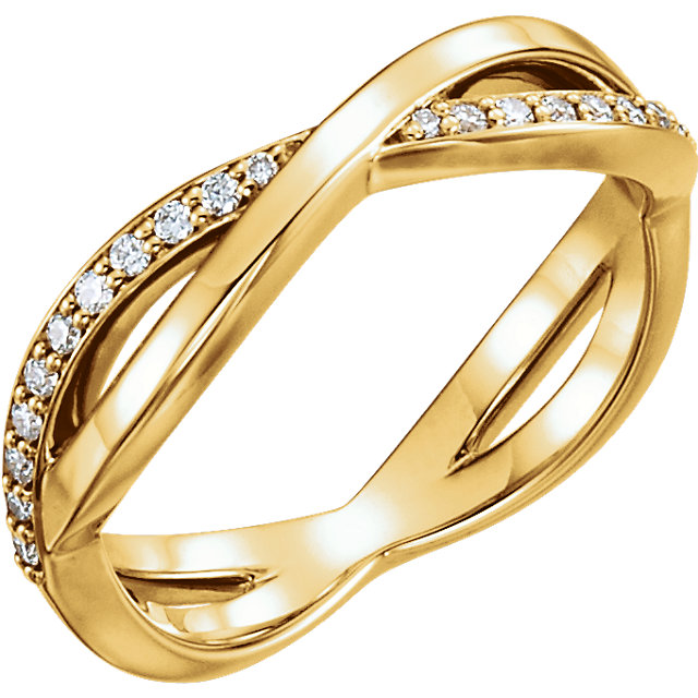 Shop Real 14 KT Yellow Gold 0.20 Carat TW  Diamond Infinity-Inspired Ring