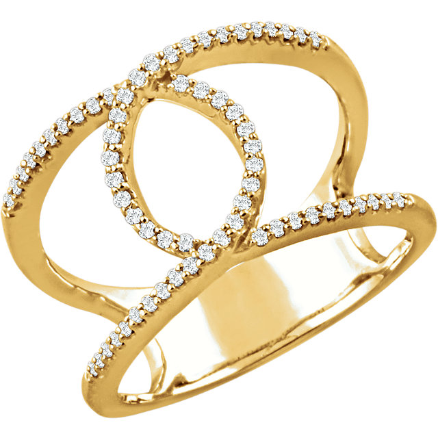Buy Real 14 KT Yellow Gold 0.20 Carat TW Diamond Interlocking Loop Ring