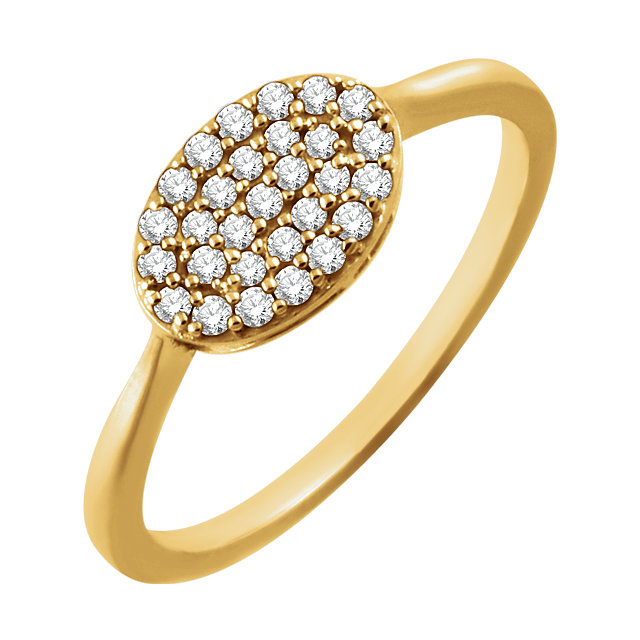Low Price 14 KT Yellow Gold 1/5 Carat TW Diamond Oval Cluster Ring