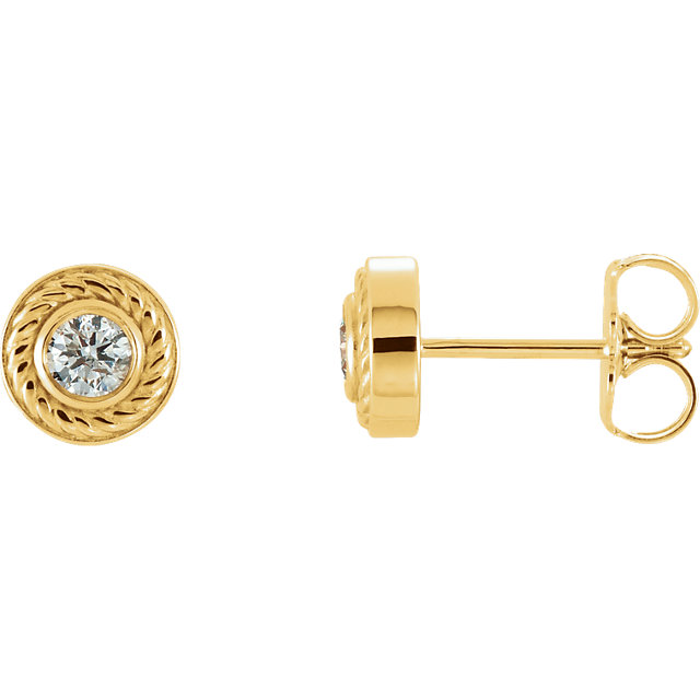 Chic 14 Karat Yellow Gold 0.20 Carat Total Weight Diamond Rope Earrings with Backs