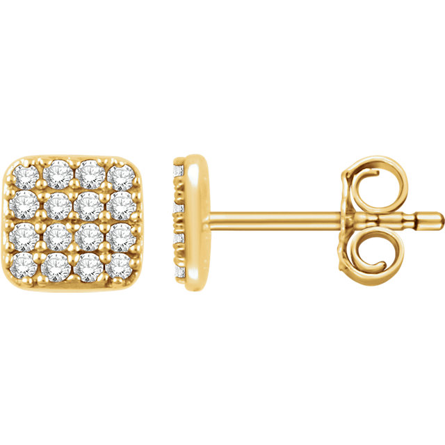 Great Deal in 14 Karat Yellow Gold 0.20 Carat Total Weight Diamond Square Cluster Earrings