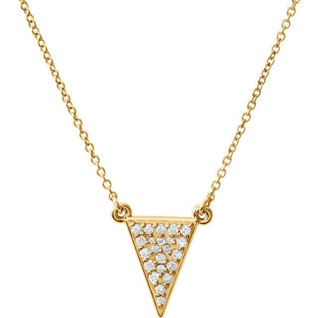 Surprise Her with  14 Karat Yellow Gold 0.20 Carat Total Weight Diamond Triangle 16.5