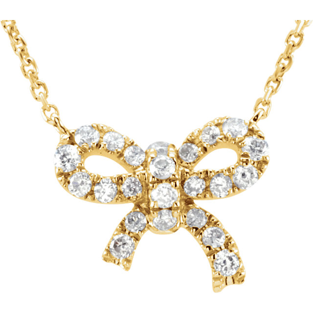 Eye Catchy 14 Karat Yellow Gold 0.17 Carat Total Weight Diamond Bow 18