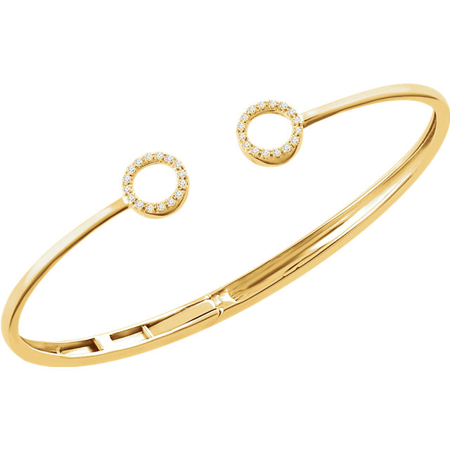 Fabulous 14 Karat Yellow Gold 1/6 Carat Total Weight Round Genuine Diamond Circle Hinged Cuff 7