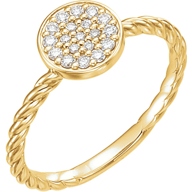 Contemporary 14 Karat Yellow Gold 0.17 Carat Total Weight Diamond Cluster Rope Ring