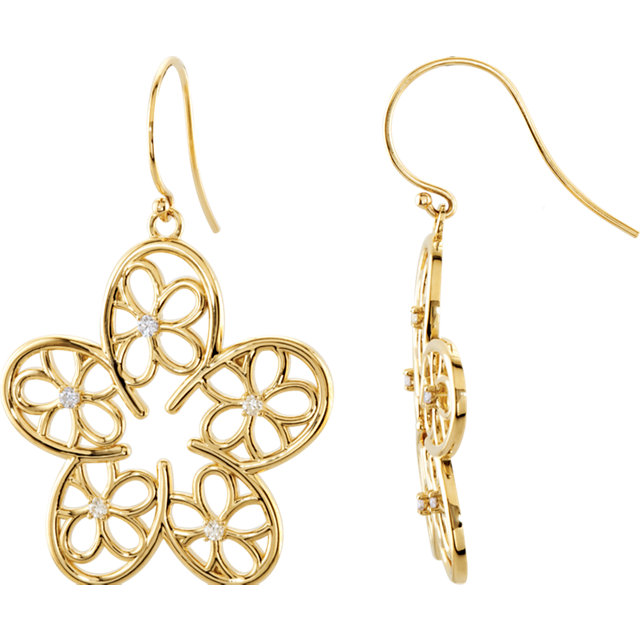 Chic 14 Karat Yellow Gold 0.17 Carat Total Weight Diamond Floral-Inspired Earrings