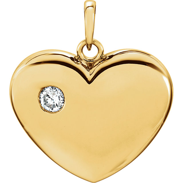 14 Karat Yellow Gold 1/6 CT Round Genuine Diamond Heart Pendant