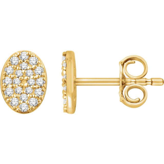 Perfect Gift Idea in 14 Karat Yellow Gold 0.17 Carat Total Weight Diamond Oval Cluster Earrings