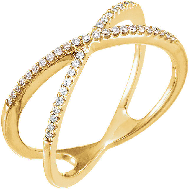 Easy Gift in 14 Karat Yellow Gold 0.17 Carat Total Weight Diamond Criss-Cross Ring