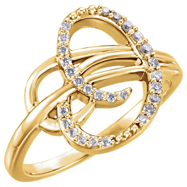 Jewelry Find 14 KT Yellow Gold 0.17 Carat TW Diamond Ring