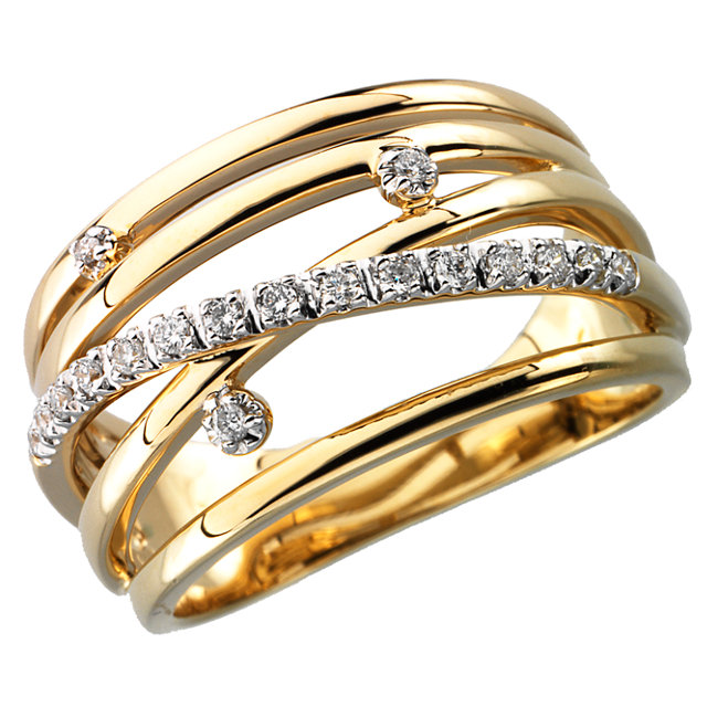 Appealing Jewelry in 14 Karat Yellow Gold 0.17 Carat Total Weight Diamond Ring