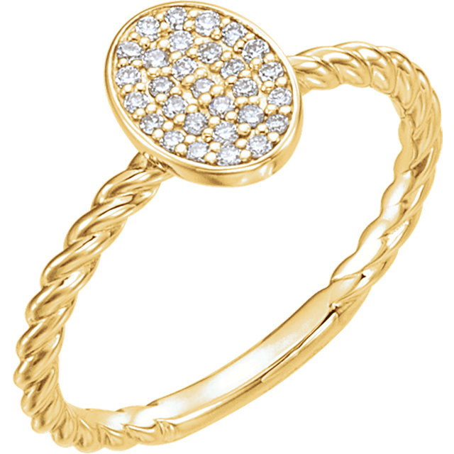 Low Price on Quality 14 KT Yellow Gold 0.17 Carat TW Diamond Rope Cluster Ring