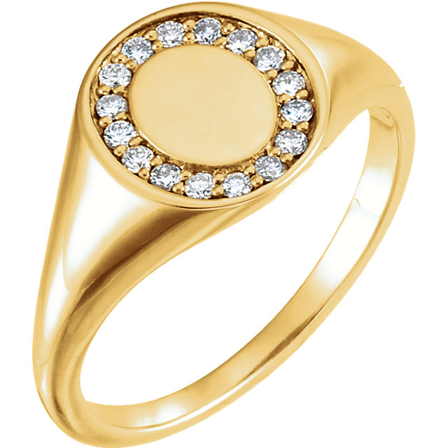 Buy Real 14 KT Yellow Gold 0.17 Carat TW Diamond Signet Ring