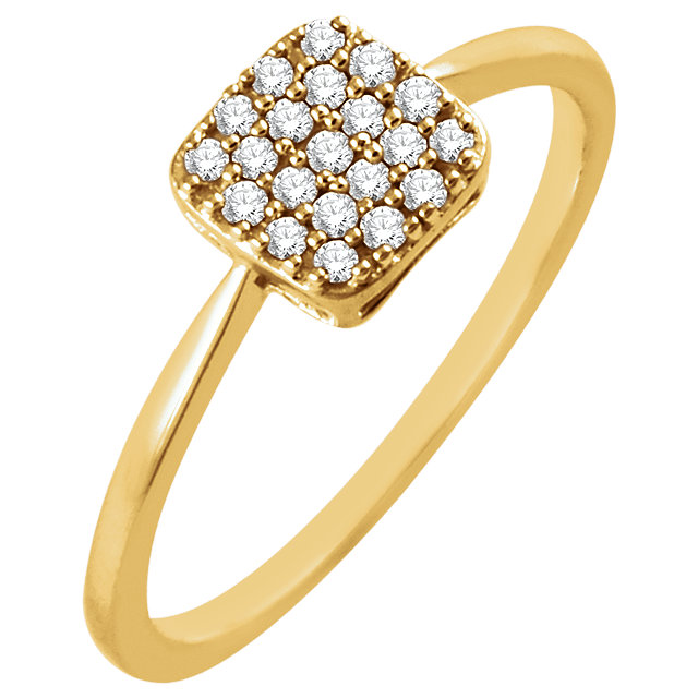 Easy Gift in 14 Karat Yellow Gold 0.17 Carat Total Weight Diamond Square Cluster Ring
