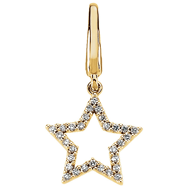 Genuine 14 Karat Yellow Gold 0.17 Carat Diamond Star Charm