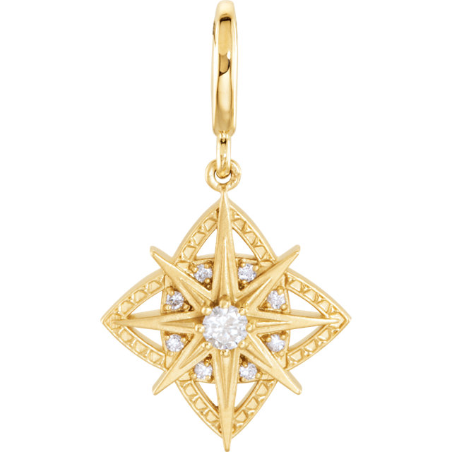 Shop 14 Karat Yellow Gold 0.17 Carat Diamond Vintage-Style Dangle Charm