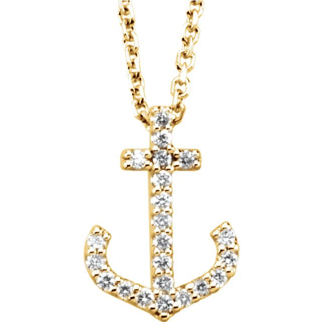 Perfect Jewelry Gift 14 Karat Yellow Gold 0.12 Carat Total Weight Diamond Anchor 16