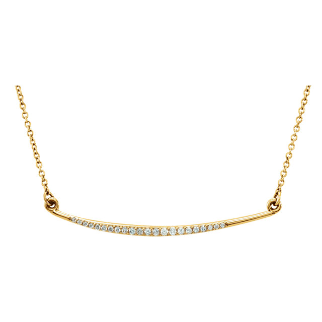 Must See 14 KT Yellow Gold 0.12 Carat TW Diamond Curved Bar 16