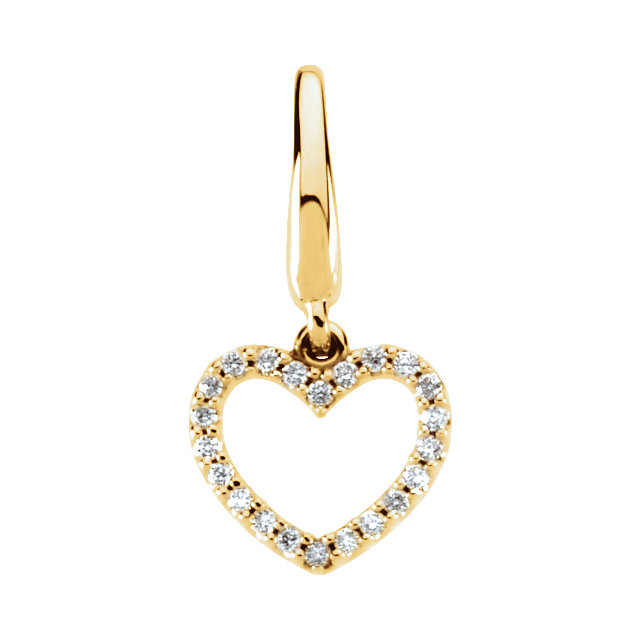 14 Karat Yellow Gold 0.12 Carat Diamond Heart Charm