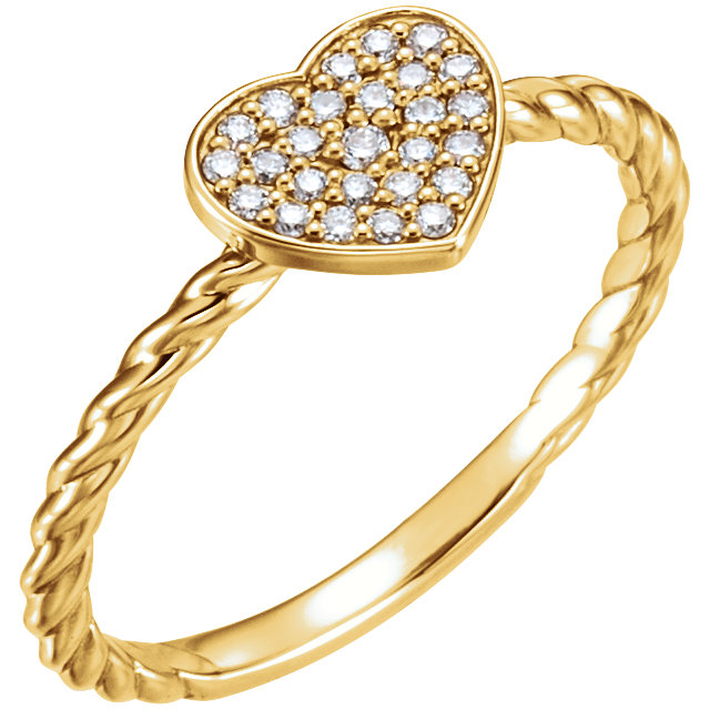 Surprise Her with  14 Karat Yellow Gold 0.12 Carat Total Weight Diamond Heart Rope Ring