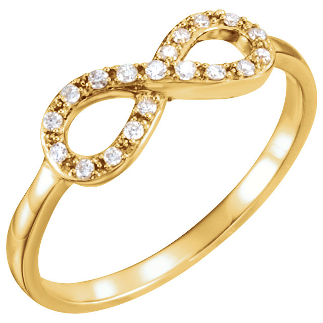 Low Price on 14 KT Yellow Gold 0.10 Carat TW Diamond Infinity-Inspired Ring