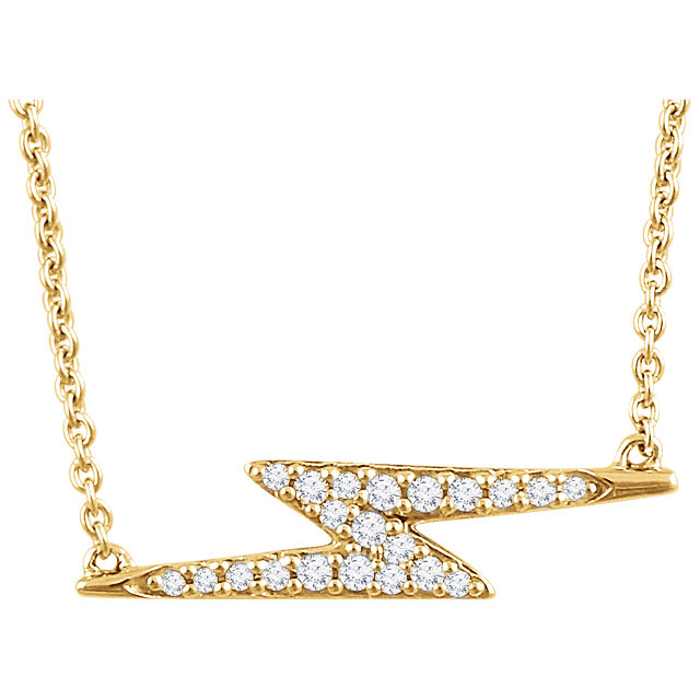 Stylish 14 Karat Yellow Gold 1/8 Carat Total Weight Genuine Diamond Lightning Bolt 16-18 inch Necklace
