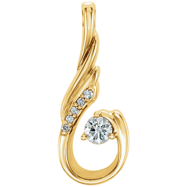 Great Buy in 14 Karat Yellow Gold 0.12 Carat Total Weight Diamond Pendant