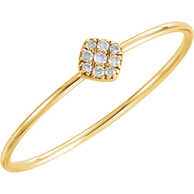 Appealing Jewelry in 14 Karat Yellow Gold 0.12 Carat Total Weight Diamond Petite Square Ring