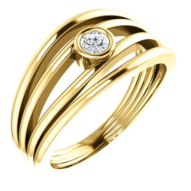 Genuine 14 KT Yellow Gold 0.12 Carat TW Diamond Ring