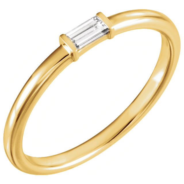 Great Gift in 14 Karat Yellow Gold 0.12 Carat Total Weight Diamond Stackable Ring
