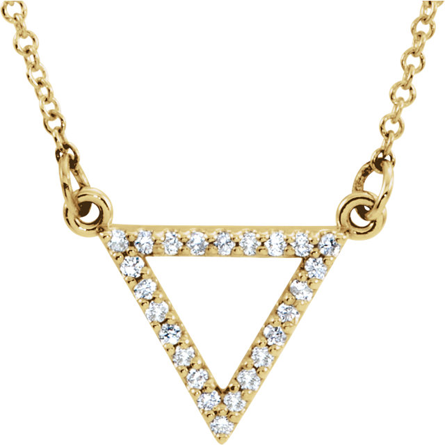 Chic 14 Karat Yellow Gold 0.12 Carat Total Weight Diamond Triangle 16