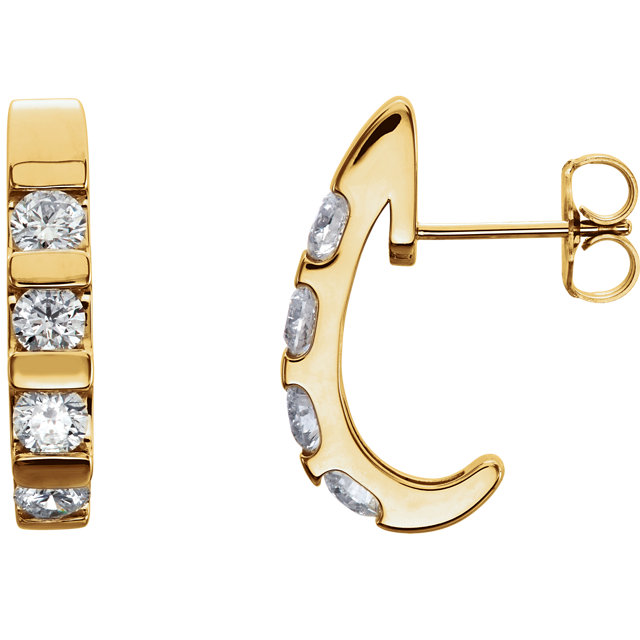 Very Nice 14 Karat Yellow Gold 1 Carat Total Weight Diamond Earrings