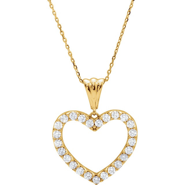 Genuine 14 Karat Yellow Gold 1 Carat Diamond Heart 18