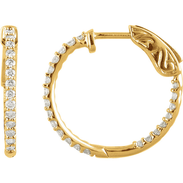 Surprise Her with  14 Karat Yellow Gold 1 Carat Total Weight Diamond Inside/Outside Hoop Earrings