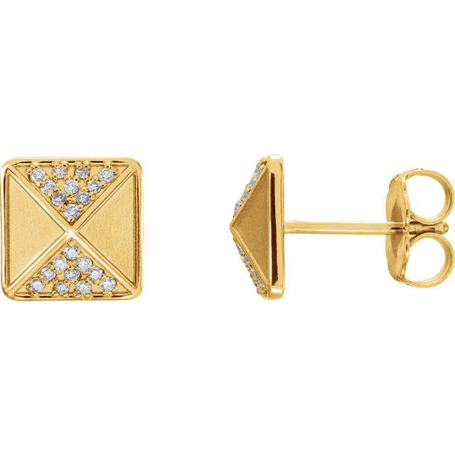 Jewelry in 14 KT Yellow Gold .10 Carat TW Diamond Accented Earrings