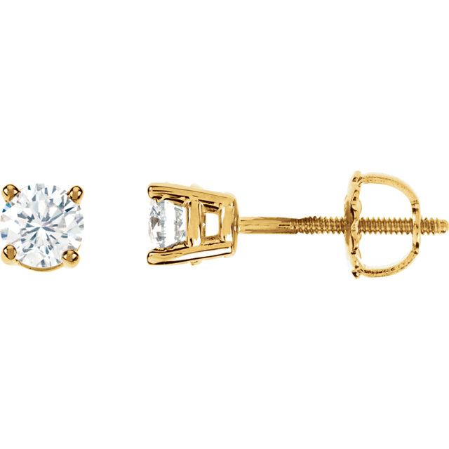 Great Gift in 14 Karat Yellow Gold 0.75 Carat Total Weight Diamond Earrings