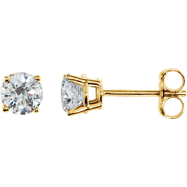 Wonderful 14 Karat Yellow Gold 0.75 Carat Total Weight Diamond Earrings