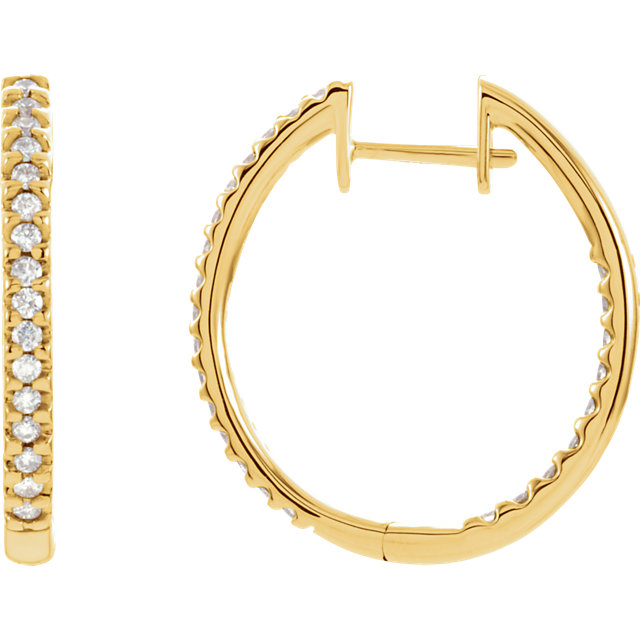 Contemporary 14 Karat Yellow Gold 0.75 Carat Total Weight Diamond Hinged Inside-Outside Hoop Earrings
