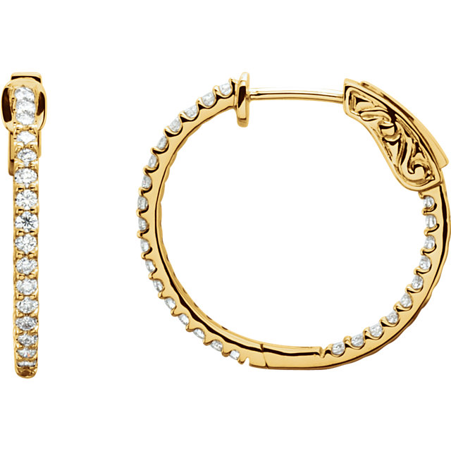 Easy Gift in 14 Karat Yellow Gold 0.75 Carat Total Weight Diamond Inside/Outside Hoop Earrings