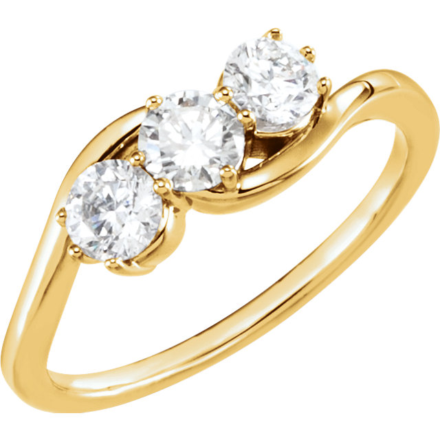 Fine 14 KT Yellow Gold 0.75 Carat TW Diamond Three-Stone Ring