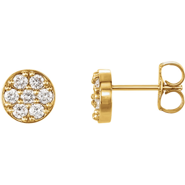 Must See 14 KT Yellow Gold 0.40 Carat TW Diamond Cluster Earrings