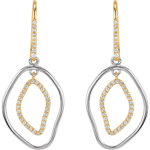 14 KT Yellow Gold 3/8 Carat Total Weight Diamond Dangle Earrings