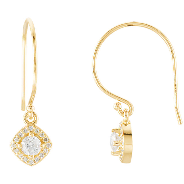 Fine Quality 14 Karat Yellow Gold 0.40 Carat Total Weight Diamond Earrings