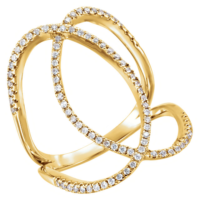 Buy Real 14 KT Yellow Gold 0.40 Carat TW Diamond Freeform Ring