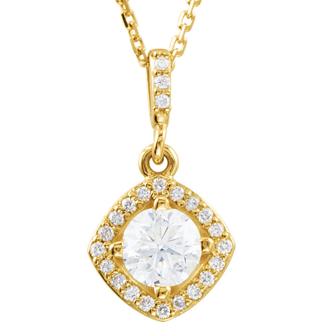 Easy Gift in 14 Karat Yellow Gold 0.40 Carat Total Weight Diamond Halo-Style 18