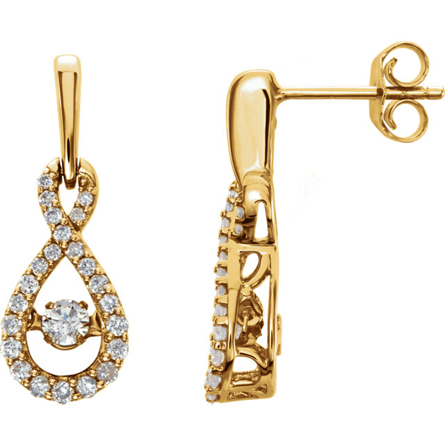 Fine Quality 14 Karat Yellow Gold 0.40 Carat Total Weight Diamond Infinity-Inspired Earrings